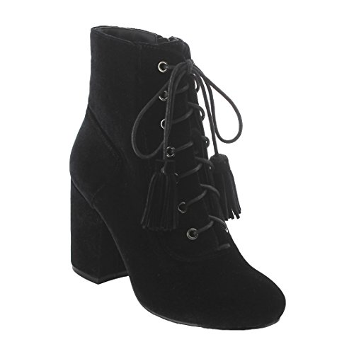 Block Ankle Nature Women's Wrapped EK42 Black Side Heel Lace up Booties Zipper Breeze 08r84qEvwZ