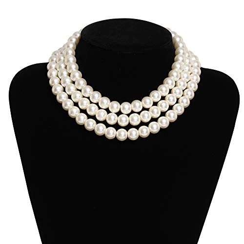 BABRYOND Round Imitation Pearl Necklace Vintage Multi Strands Choker Necklace 20s Flapper Necklace for Party