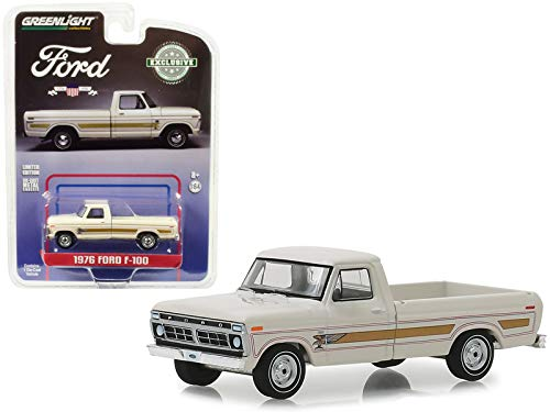 (Greenlight 29965 1976 Ford F-100 Pickup Truck Bicentennial Wimbledon White Hobby Exclusive 1/64 Diecast Model Car, Multicolor)