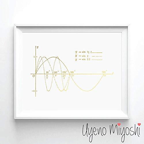 (Sine Curve Gold Foil Art Print Math Lover Gold Print Home Nursery Room Wall Art Decor Sine Curve Gold Art Print, Math Lover's Gift Gold Foil Print 08 x 10)