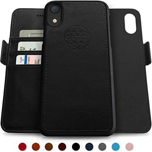 Dreem Fibonacci 2-in-1 Wallet-Case for iPhone XR Magnetic Detachable Unbreakable TPU Slim-Case, Wireless Charge, RFID Protection, 2-Way Stand, Luxury Vegan Leather, Gift-Box - Black