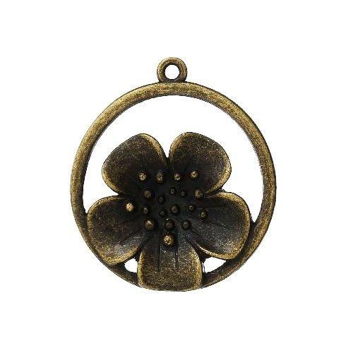 Paquet 3 x Steampunk Bronze Antique Tibétain 32mm Breloques Pendentif (Fleur) - (ZX12565) - Charming Beads
