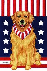 Golden Retriever Tomoyo Pitcher Patriotic Large Flag Pet Supplies