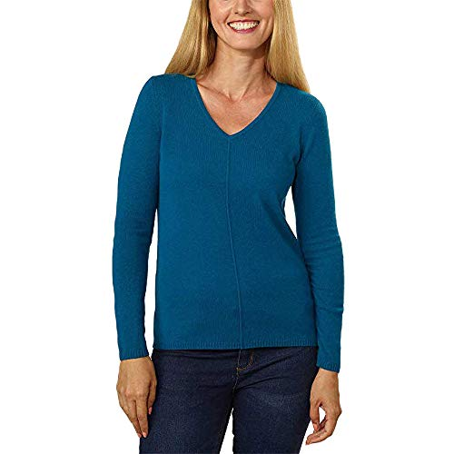- BELFORD Women's V-Neck Cashmere Sweater, Teal, X-Large