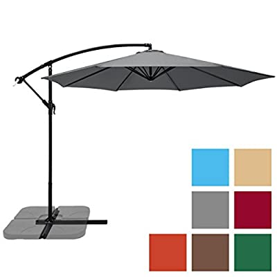 Best Choice Products Offset 10' Hanging Outdoor Market New Tan Patio Umbrella