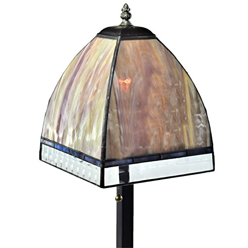 J Devlin Glass Art Lam 589-7 TB Tiffany Stained Glass Lamp Brown Opal Rust Desk Table Accent - Brown Table Art Lamp Glass