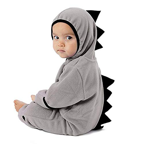 Clearance!!Toddler Infant Baby Girls Boys Cartoon Animals Romper Warm Hoodie Zipper Jumpsuit Party Costume Cosplay (Gray-Dinosaur, 0-3 Months) ()