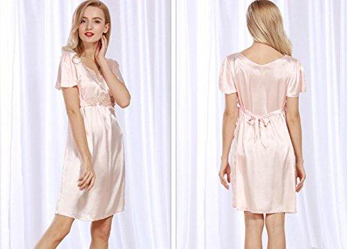 ZC&J Cool pijamas señoras de verano ropa imitación de seda cómoda falda breathableSleep,light Grey,one size light Grey