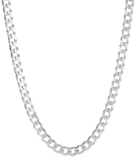 Men's 8mm 925 Sterling Silver Nickel-Free Beveled Curb Link Chain, 36