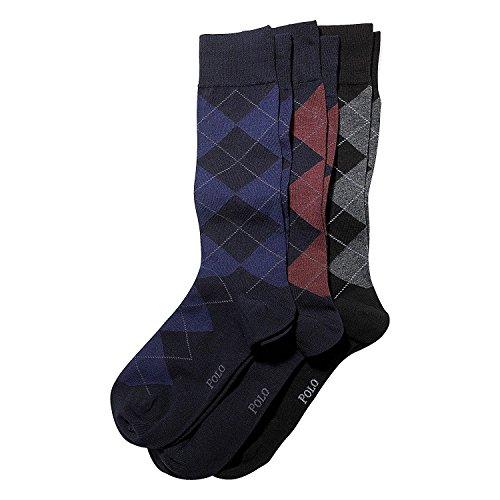 Polo Ralph Lauren Men's 3 pair Cotton Blend Socks Argyle, Navy, XL 8091PKXLE ()