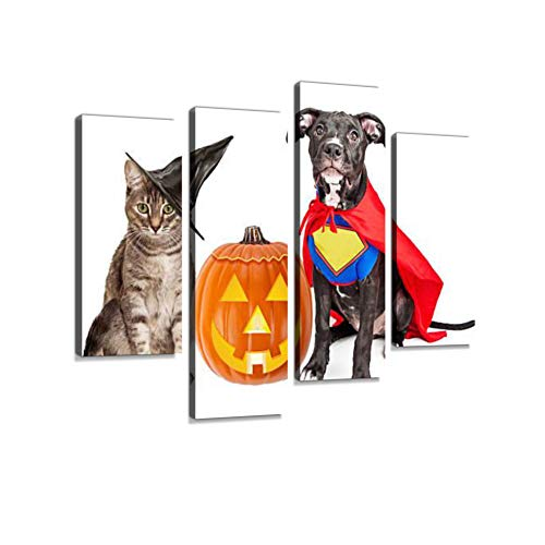 Halloween Puppy and Kitten with Pupmkin Canvas Wall Art Hanging Paintings Modern Artwork Abstract Picture Prints Home Decoration Gift Unique Designed Framed 4 Panel