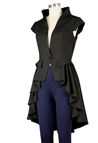 noir Manteau noir Goths Steampunk Femme sans manche Trench B1xfWqOUw