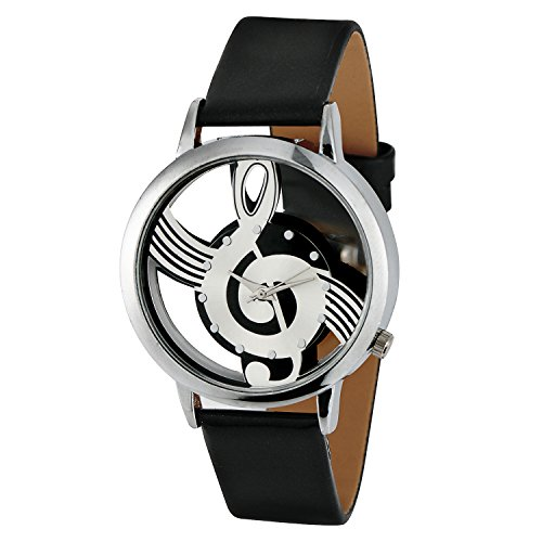 Mens Music Notation Fashion Wrist Watch with Buckle Clasp from Maloom