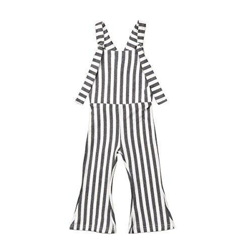 Toddler Kids Baby Girl Stripes Bell-Bottom Jumpsuit Romper Overalls Pants Outfits (Grey, 1-2 T) ()