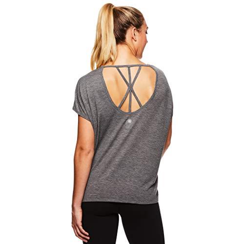 Training Top Short Sleeve (Gaiam Women's Open Back Yoga T Shirt - Relaxed Fit Short Sleeve Workout & Training Top - Flint Grey Heather, Medium)