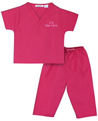 Scoots Baby Girls' I'm New Here Scrubs, 0-6 Months, Hot Pink