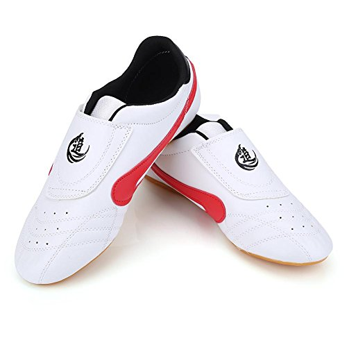 Taekwondo Shoes, Unisex PU Leather Oxford Soles Taekwondo Shoes Lightweight Boxing Kung Fu Tai Chi Sport Gym Shoes with…