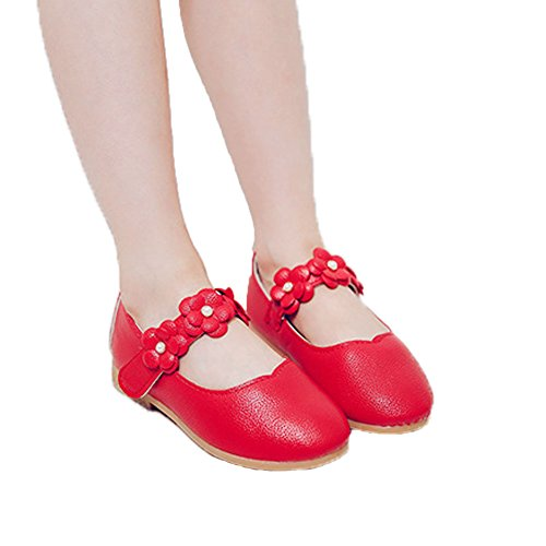 Vokamara Baby Toddler Girls Soft PU Leather Mary Janes Flowers Bow Dress Shoes (5.5 M US Toddler, X-Red) ()