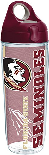 Tervis 1237831 Florida State Seminoles College Pride Tumbler with Wrap and Maroon Lid 24oz Water Bottle, Clear ()