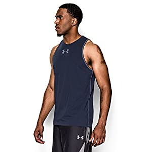 Under Armour Men's Charged Cotton Jus Sayin Too Tank, Midnight Navy (410)/Steel, X-Large