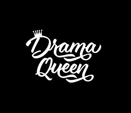 - Makarios LLC Drama Queen Crown Decal Vinyl Sticker Cars Trucks Vans Walls Laptop MKR  WHITE  5.5 x 4 IN MKR172