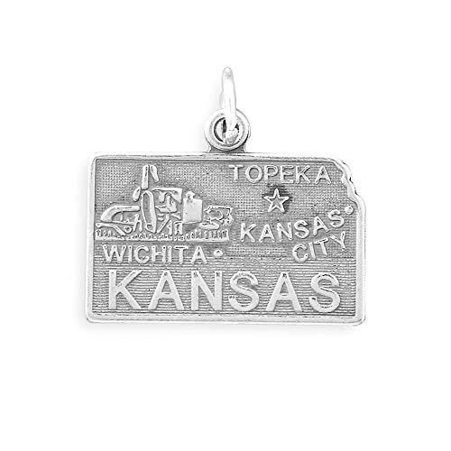 925 Sterling Silver Kansas State Charm