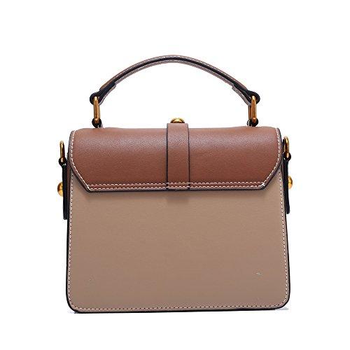 Khaki Square Shoulder Pu Yiwuhu Lock Practical Handbag Bag Simple Retro Rivet OxqwTzIY