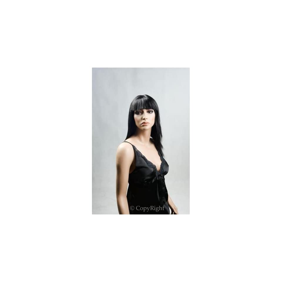 Female Mannequin Straight Black Wig with Bangs