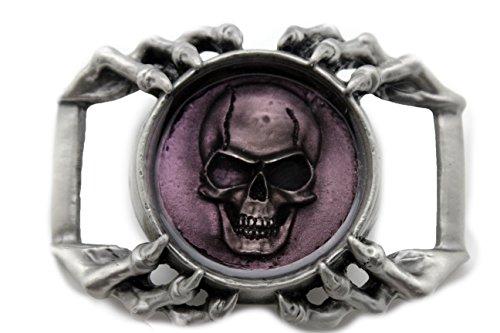 (TFJ Men Women 3D Fashion Strong Belt Buckle Silver Heavy Metal Skull Eagle Claws)