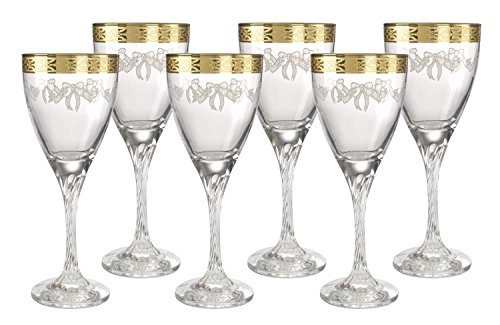 5th Avenue Collection Italian Crystal Wine Glass with 14k Gold Rim Set of 6