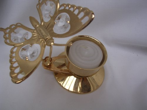 Butterfly Austrian Crystal - Crystal Delight Tealight 24K Gold Plated Austrian Crystal ; Butterfly