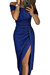 Women's Off Shoulder Sequin Long Slit Dress