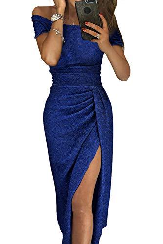 Tiksawon Women Glitter Dress Cocktail Party Club Sexy Off Shoulder Sequin Slit Fall Wedding Evenning Gown Slim Bodycon Blue S