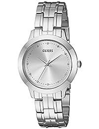 GUESS - Reloj casual pequeño de acero inoxidable para mujer, Tono plateado, NS