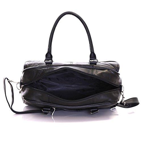 Slimbridge Essen maletín de cuero, Negro