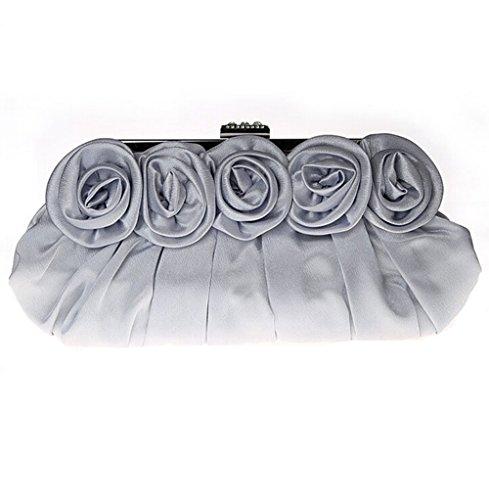 Handbags Cream E Ladies Silver Elegant Evening TDPAC Roses Satin 46YqTw4