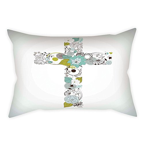 iPrint Cotton Linen Throw Pillow Cushion Cover,Baptism,Cross Made from Flowers Blessing Blossom newborn Catholic Party Illustration,Seafoam Avocado Green,Decorative Square Accent Pillow Case by iPrint