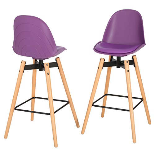 Piper Modern Counter Height Kitchen Bar Stool Chair Purple