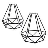 "2pcs Vintage Lampshade, Motent Industrial Retro Metal Bird Cage Edison Bulb Guard, Iron Wrought 1-Light Lamp Holder, Creative DIY Lighting Fixture, 6.2"" Dia for Pendant Light Wall Lamp - Diamond Shape"