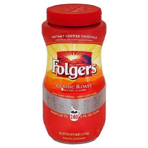 Folgers Classic Roast Instant Coffee, 1LBS (Pack of 4) Ygkclw