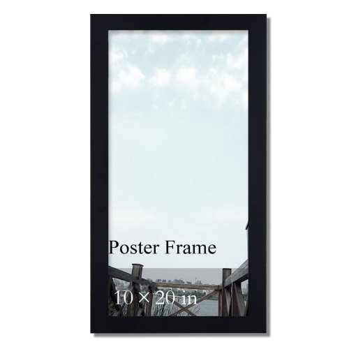 Adeco 10x20 inch Matted Black Wood Decorative 1.25 Inch Wide Margin Panoramic Wall Hanging Print Picture Photo Frame - Made to Display 10 x 20 Poster or Photo, Horizontal or Vertical (Show Concert Poster)
