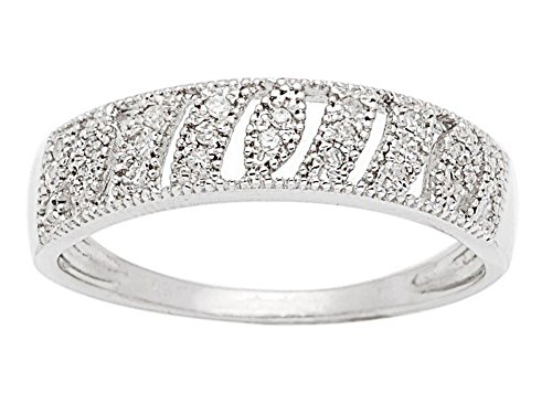 10k White Gold Vintage Style Diamond Anniversary Band (1/7 cttw, I-J Color, I2-I3 Clarity) by Instagems