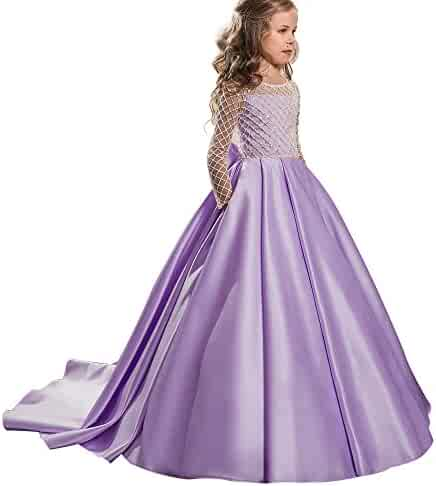 112e800f8b8 AbaoSisters Christmas Fancy Flower Girl Dress Floor Length Button Draped  Pink Long Sleeves Tulle Ball Gowns