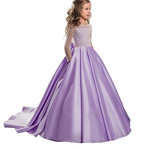 Christmas Flower Girl Dress Floor Length Button Draped Tulle Ball Gowns for Kids (10, Purple)]()