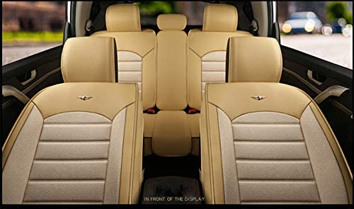 Luxury Cotton and Linen Blended Weave Auto Car Seat Covers 5 Seats Full Set Universal Fit Beige