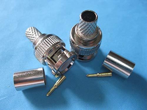 Bnc Plug Crimp 3 Piece - FidgetFidget Connector 3-Piece 20 Set BNC Plug Crimp Coaxial Male for RG6 Cable New