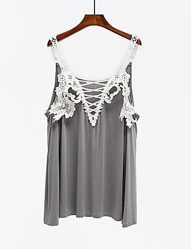 Gray YFLTZ Unie en Femme Grande Taille Couleur Blouse Coton 8Bq4p
