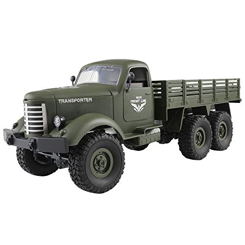 Transer- [US Stock] JJRC RC Cars, 1:16 Scale 2.4G 6WD Off Road Rechargeable RTR Remote Control Military Truck Car Kids Toys (Green)