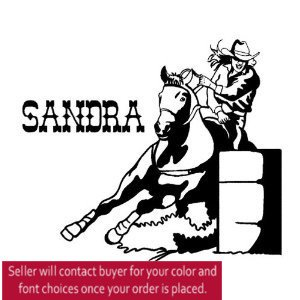 Horse Wall Decal Rodeo Sport Sticker Barrel Racer Decal Girls Teen Bedroom Wall