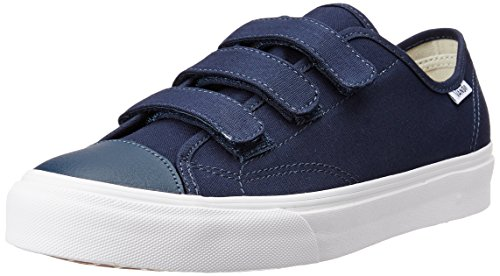 Vans Style 23 V Canvas Unisex Sneakers (9 Men's/10.5 Women's, Dress Blues) (Vans Strap Shoes)